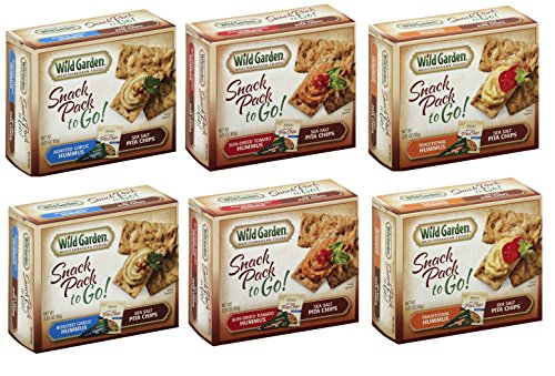 Wild Garden Hummus Snack Combo To-Go, 6 Pack Variety Pack Sea Salt Pita Chip (2- Roasted Garlic, 2- Sun Dried Tomato, 2- Traditional) (Roasted Garlic And Sea Salt Chips compare prices)