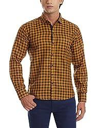 Dennison Men's Casual Shirt (SS-16-422_38_Yellow)