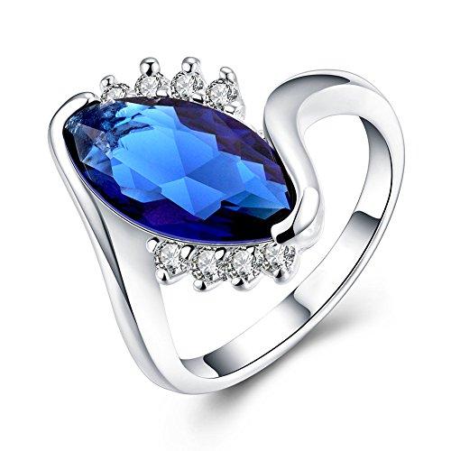 NYKKOLA nuova 925 Sterling Silver plated Jewelry-Anello, colore: blu oceano, Argento, 18, cod. TEYJT6YHRH397