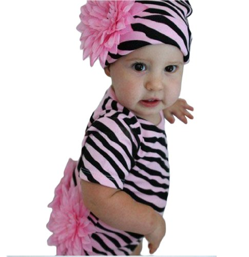 StylesILove 3-24m 3D Flowers Baby Girl Creeper and Hat 2-pc Outfit