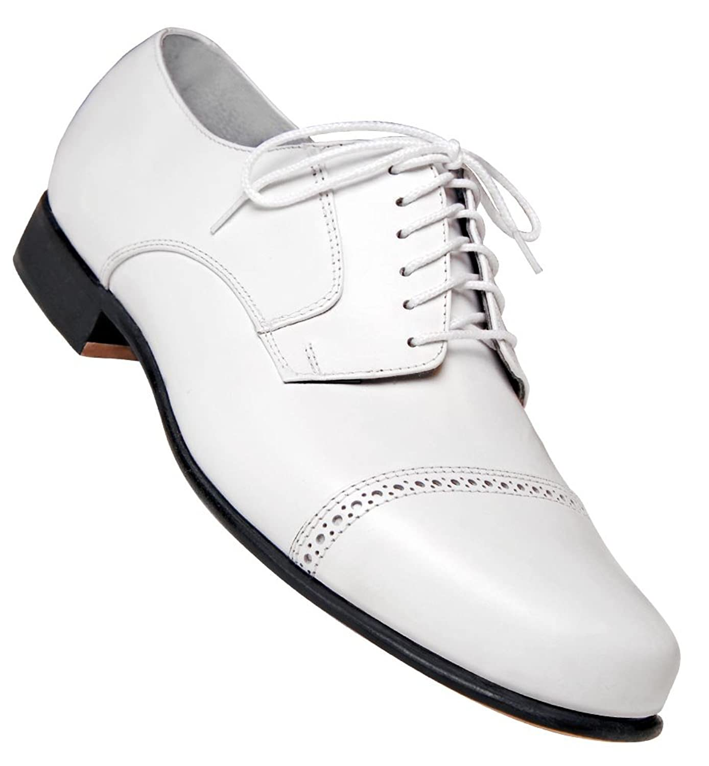 1950s Style Mens Shoes Mens 1930s White Captoe Dance Shoe $74.95 AT vintagedancer.com