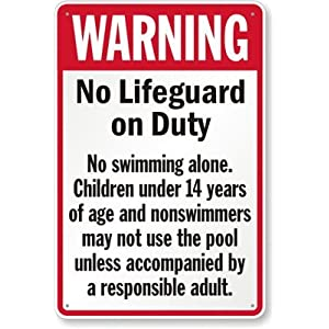 Smartsign Aluminum Sign Legend Warning No Lifeguard On Duty 36 High X 24 Wide Black Red