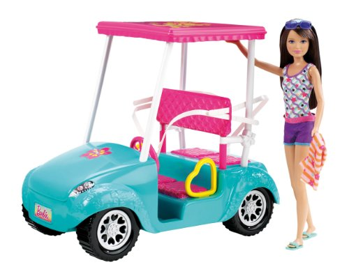 51WpbPHetqL Cheap Price Barbie Sisters Golf Cart and Skipper Doll Set