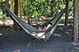 Ultra-Light Camping Hammock (Double) by Hammock Time(TM) Portable Travel Parachute Nylon Double Camping Hammock XL with Triple Stitching, Includes 2 Free Hi-Strength Steel Carabiners (Green/Olive)