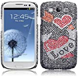 Samsung Galaxy S3 i9300 Love Hearts Diamante Case / Cover / Shell / Shield PART OF THE QUBITS ACCESSORIES RANGEby TERRAPIN