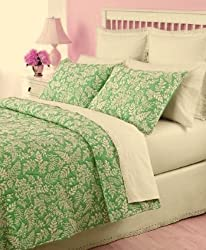 Martha Stewart Fern Fronds Twin Quilt &amp; Sham Set Pear Green/White