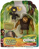 Fisher-Price The Croods Grug & Ramu 3 inch figures. Made by Fisher-Price in 2012. Size: 3 inch. For Ages 3+.