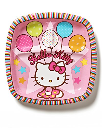 """Hello Kitty 9"""" Square Plate, Balloon Dreams (8-Pack), Party Supplies"""