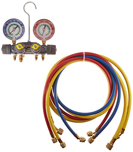 Yellow Jacket 49905 Titan 4-Valve Test and Charging Manifold degrees F, psi Scale, R-12/22/502 Refrigerant, Red/Blue Gauges (Refrigerant Scale Yellow Jacket compare prices)