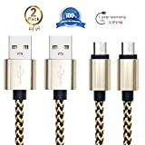 Android Charging Cable,Hankuke [2-Pack] Multi length and color Sturdy Nylon Fabric Braided High Speed Data Sync USB to Micro USB Cable (1m gold)