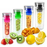 Puregadgets? Pink Fruit Infusing Water Bottle Infuse Infuser Hydration Aqua Sports Gym Healthy