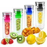Puregadgets© Pink Fruit Infusing Water Bottle Infuse Infuser Hydration Aqua Sports Gym Healthy