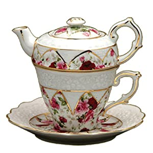 Gracie China by Coastline Imports 4-Piece Porcelain Tea for One, Stacked Teapot Cup Saucer, Red Rose