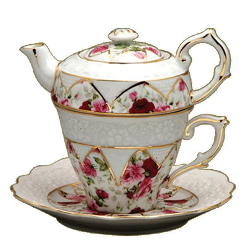 Gracie China by Coastline Imports 4-Piece Porcelain Tea for One, Stacked Teapot Cup Saucer, Red Rose (Teapots For One compare prices)