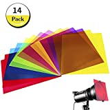 14 Pack Light Gels Colored Overlays Transparency Color Film Plastic Sheets Correction Gel Light Filter Sheet, 8.5 by 11 Inch,7 Assorted Colors
