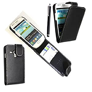 STYLEYOURMOBILE SAMSUNG GALAXY S3 S III MINI I8190 PREMIUM QUALITY PU LEATHER MAGNETIC FLIP CASE SKIN COVER POUCH + SCREEN PROTECTOR + FREE STYLUS (Black)