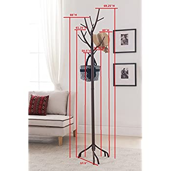 Kings Brand Bronze Finish Metal Hall Tree Coat & Hat Rack with Branches