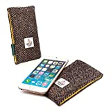 Tuff-Luv Harris Tweed Case Cover Sleeve for Smartphones (131 x 64 x 9mm) including (Apple iPhone 5s, Samsung S5 mini, Sony Xperia Z3 Compact ) - Brown / Yellow Herringbone