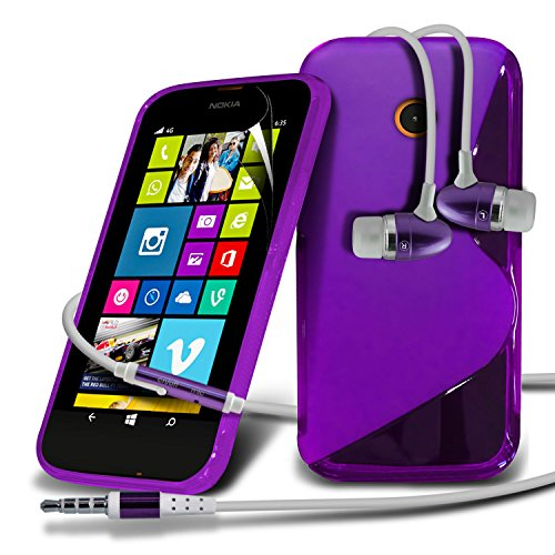 Nokia Lumia 630 Purple S Line Wave Gel Case Skin Cover With Lcd Screen Protector Guard, Polishing Cloth & Hands Free Earphone With Built In Microphone Mic & On-Off Button By Fone-Case