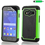32nd® Shock proof rubber case cover for Samsung Galaxy Ace 4 SM-G313 + screen protector and cloth - Green