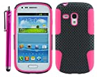 The Friendly Swede (TM) 1 x Hybrid (2 in 1) Silicone Case Cover for Samsung Galaxy S3 III Mini i8190 + 1 Matching Stylus + 1 Screen Protector in Retail Packaging - ONLY Compatible with Galaxy S3 III Mini i8190 (Black + Hot Pink)