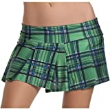 Blue Plaid Pleated Mini Skirt