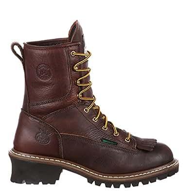 Georgia Boot Men's 8 Inch Logger Work Shoe, Chocolate, 7.5 M US