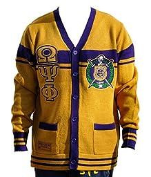 Big Boy Headgear Omega Psi Phi Fraternity Men\'s Wool Sweater 4XL Gold/Purple