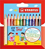 Office Product - STABILO Trio dick 12er Kunststoffetui kurz - Dreikant-Buntstift