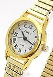 Ladies/Womens Gold Roman Numerals Expanding/Expander/Expansion Bracelet Band Watch (R0201.13.2)