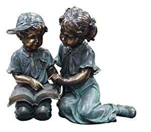 Alpine Boy and Girl Reading Together Statue