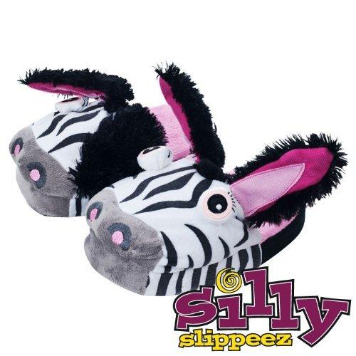 Plush Silly Slippeez Zanny Zebra - Glow in the Dark - Size XS