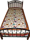 Cotton Bedspreads White India Floral Print Twin Sized Bedsheet Sofa Throw