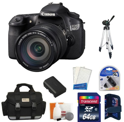Canon EOS 60D DSLR Camera Kit with Canon EF-S 18-200mm IS Lens + 64GB Master Kit