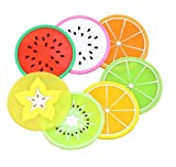 Sc0nni Fruit Slice Silicone Coaster, Non-Slip Drink Cups Pad, 14 Pack