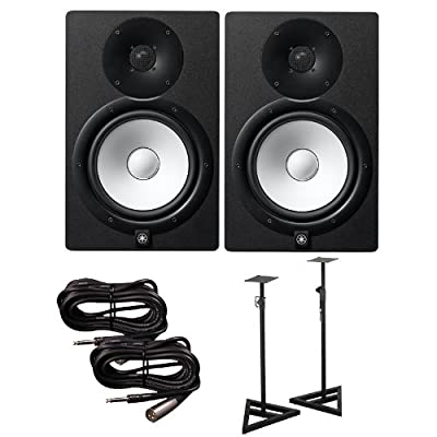 Yamaha HS8 Active Studio Monitors w Speaker Stands and TRS to XLR-Male Cables from YAMAHA