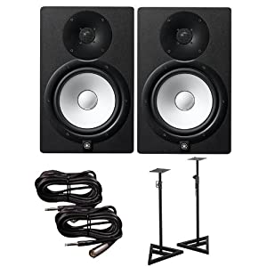 yamaha hs8 active studio monitors w speaker stands and trs to xlr male cables. Black Bedroom Furniture Sets. Home Design Ideas