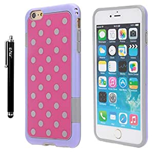 iPhone 6s plus/ 6 Plus Case, E LV iPhone 6s plus/ 6 Plus Case Cover Soft Slim Fit Flex Shock-Absorption Bumper Case for Apple iPhone 6s plus/ 6 Plus with 1 Clear Screen Protector and 1 E LV Microfiber Digital Cleaner - HOT PINK / PURPLE