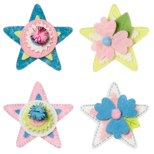 WeGlow International Felt Embellishment Pink and More Stars, Set of 8