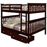 Bunk Bed Full over Full with Under-Bed Drawers in Cappuccino
