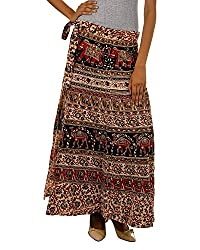 Fashiana Women Red and Brown Long Stylish Wrap Around Skirt