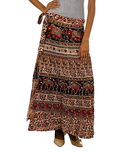 Fashiana Women Red and Brown Long Stylish Wrap Around Skirt  available at amazon for Rs.299