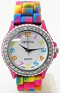 Geneva Rainbow Silicone Band Watch - Limited Quantity