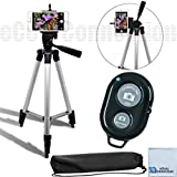 eCostConnection Aluminum Camera Tripod Bundle with Universal Tripod Smartphone Mount, Bluetooth Wireless Remote Control Camera Shutter and Microfiber Cloth