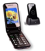 TTfone Venus 2 (TT31) Big Button Flip Mobile Phone - Dual Screen, Bluetooth, Folding, Camera, Unlocked, SOS Button - Black - with free Dock from TTfone