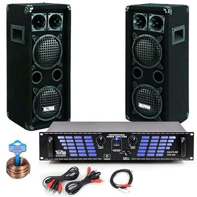 Party Musikanlage PA Lautsprecher Boxen 2400W Verstärker Endstufe Kabel DJ-738 von etc-shop - Reifen Onlineshop