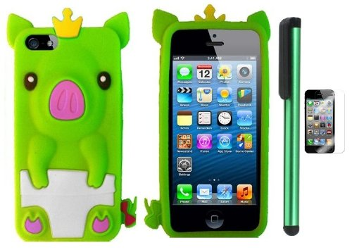 Neon Green Cute Pig Yellow Crown Silicone Skin Premium Design Protector Soft Cover Case Compatible for Apple Iphone 5 (AT&T, VERIZON, SPRINT) + Screen Protector Film + Combination 1 of New Metal Stylus Touch Screen Pen (4