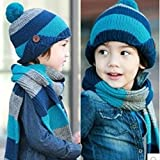 Dealzip Inc®Cute Unisex Kids Toddler Blue Two-Toned Stripe Woven Knit Crochet Warm Winter Earflap Hat Cap and Scarf Set+Random gift
