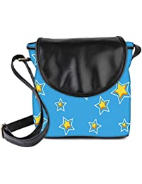Snoogg Yelow Star Blue Pattern Womens Sling Bag Small Size Tote Bag