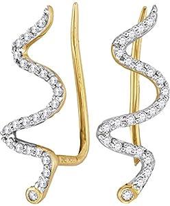 Ear Climber Diamond Earrings 10k Yellow Gold 1/6 CTW 48 Diamonds Snake Design